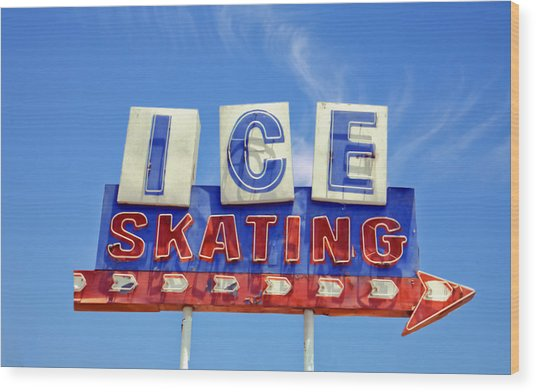 Ice Skating Wood Print