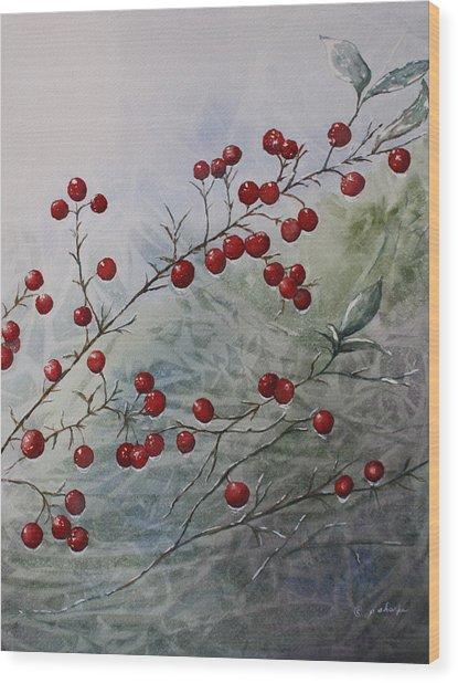 Iced Holly Wood Print