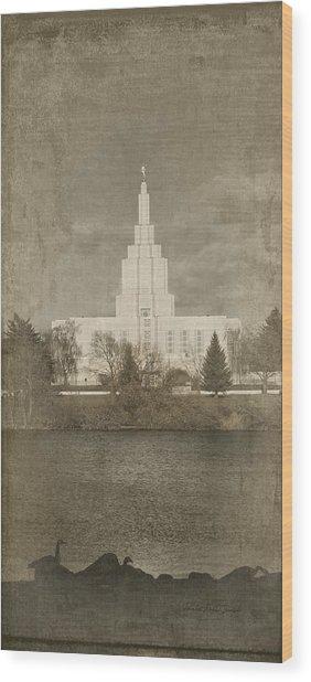 Idaho Falls Temple Verticle Wood Print