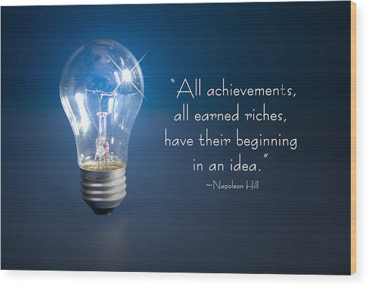 Ideas- Lightbulb Wood Print by Trudy Wilkerson