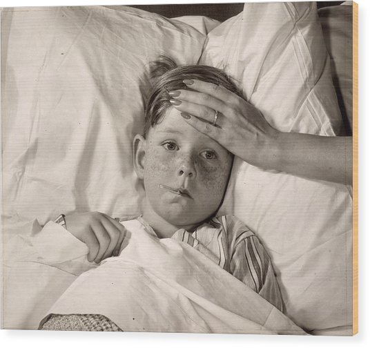 Ill In Bed Wood Print by Victor Keppler