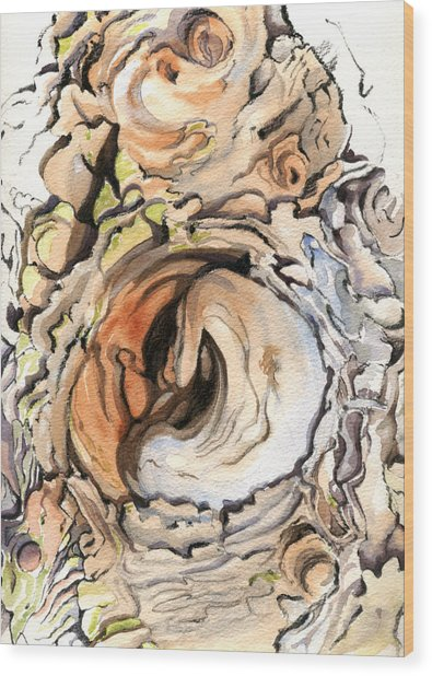Images In A Tree Wood Print by Maureen Carter