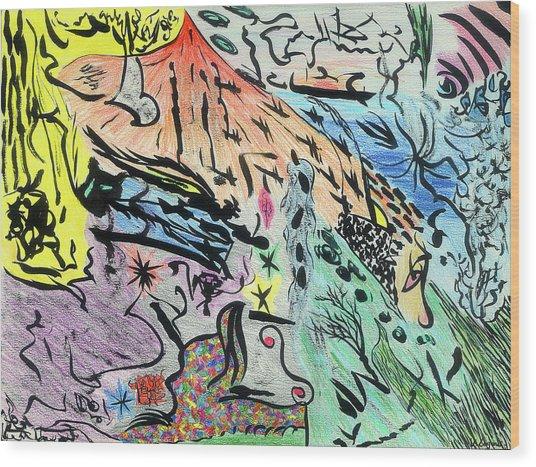 Imaginery Landscape 1 Wood Print by Valeria Jye