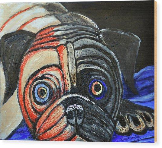 Impressionestic Pug Wood Print by Bob Crawford