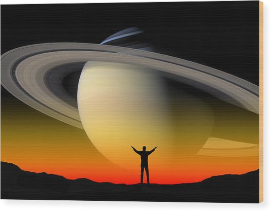In Awe Of Saturn Wood Print