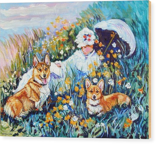 In The Field With Corgis After Monet Wood Print by Lyn Cook