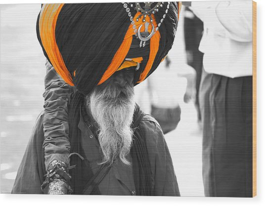 Indian Man Wearing Turban Wood Print