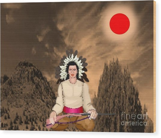 Sitting Bull Wood Print by Belinda Threeths