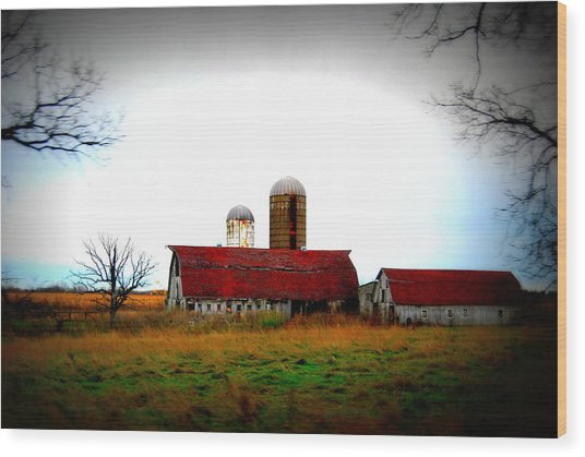Indiana Barns Wood Print
