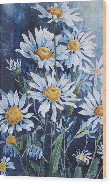 Indigo Daisies Wood Print by Yvonne Scott
