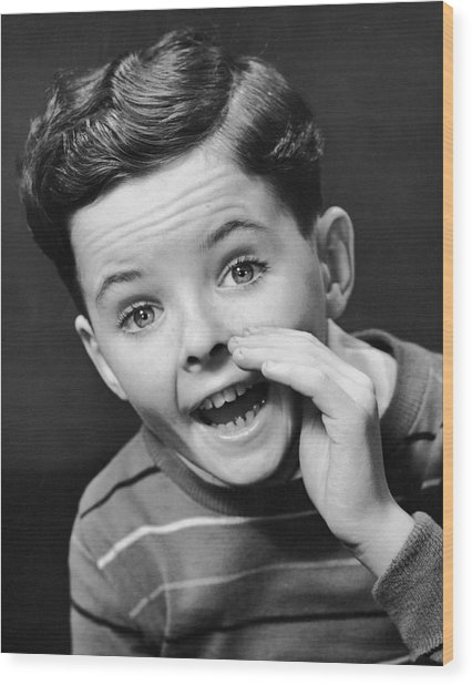 Indoor Portrait Of Yelling Boy Wood Print by George Marks