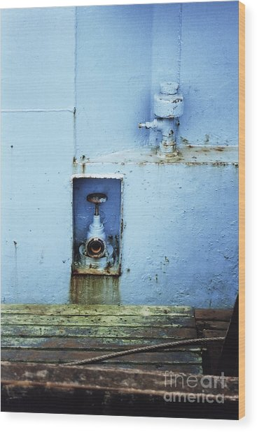 Industrial Detail In Turquoise Blue Wood Print