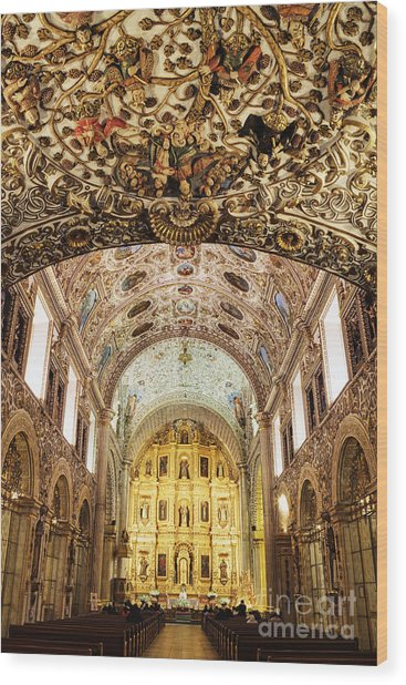 Interior Of The Church Of Santo Domingo Wood Print by Jeremy Woodhouse