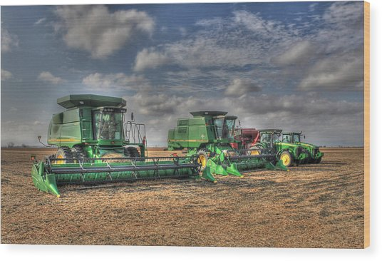 Iowa Soybean Pickers Wood Print