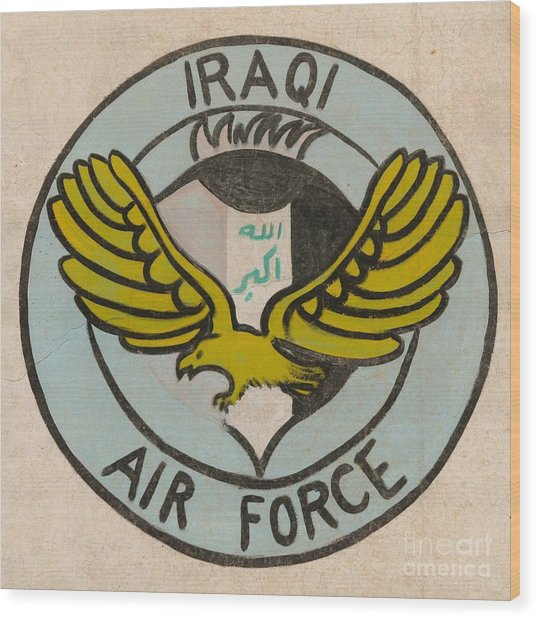 Iraqi Air Force Crest Wood Print by Unknown