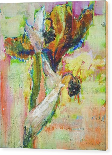 Iris 13 Wood Print by Petro Bevza