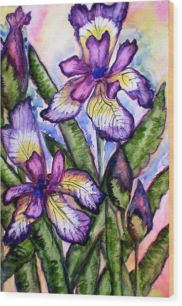 Iris Wood Print by Nadiya Kochura