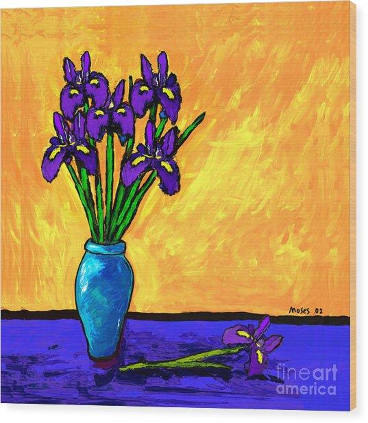 Iris On Yellow Wood Print