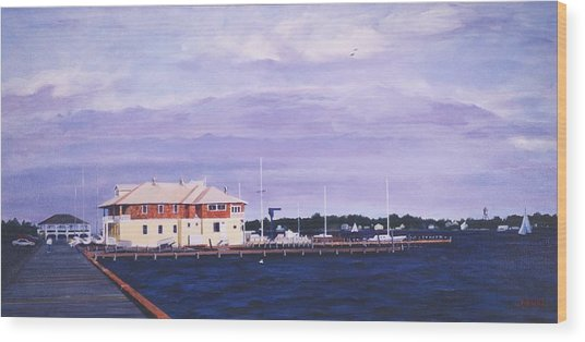 Island Heights Yacht Club Wood Print