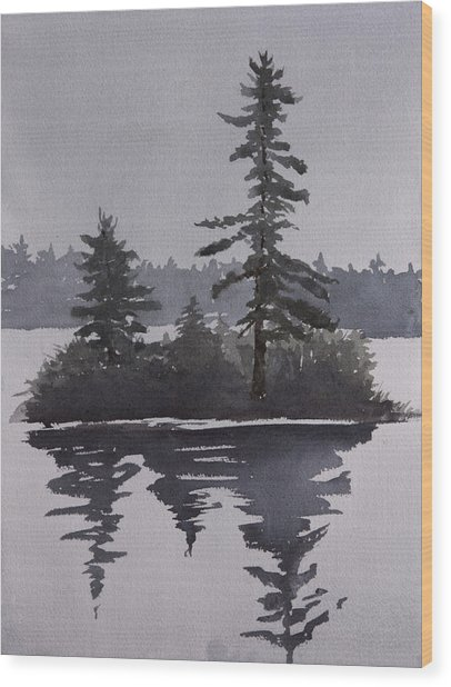 Island Reflecting In A Lake Wood Print by Debbie Homewood