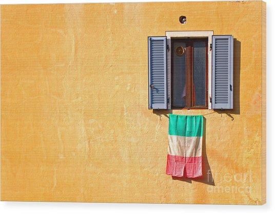 Italian Flag Window And Yellow Wall Wood Print