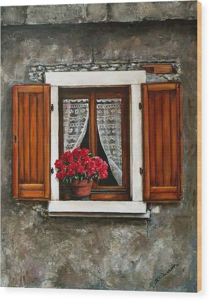 Italian Window Wood Print