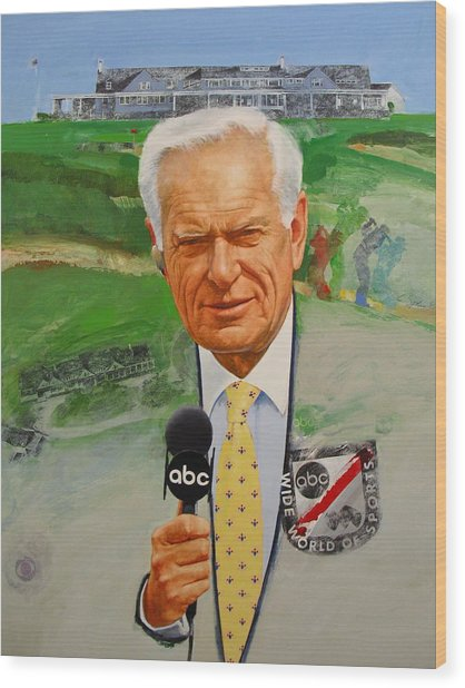 Jack Whitaker At Shinnecock Us Open 1995 Wood Print by Cliff Spohn