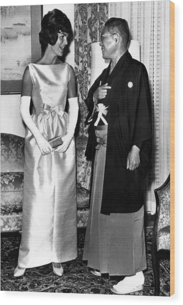 Jacqueline Kennedy, And Japanese Prime Wood Print by Everett