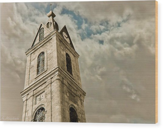 Jaffa Clocktower Wood Print by Amr Miqdadi