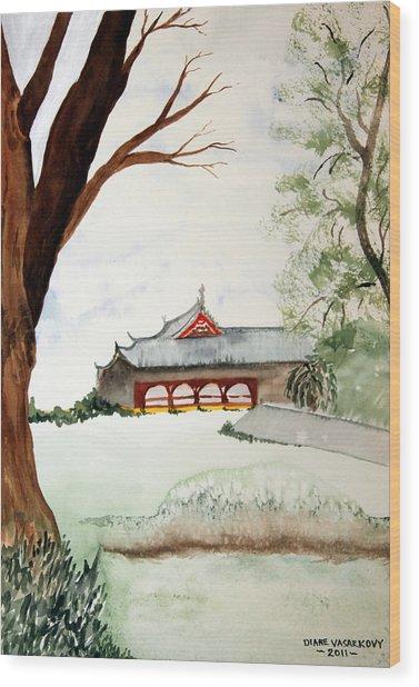 Japan House Wood Print by Diane Vasarkovy