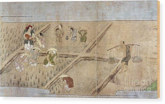 Japan: Rice Farming Wood Print