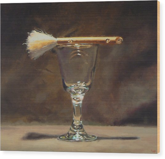 Japanese Brush And Wineglass Wood Print by Jeffrey Hayes