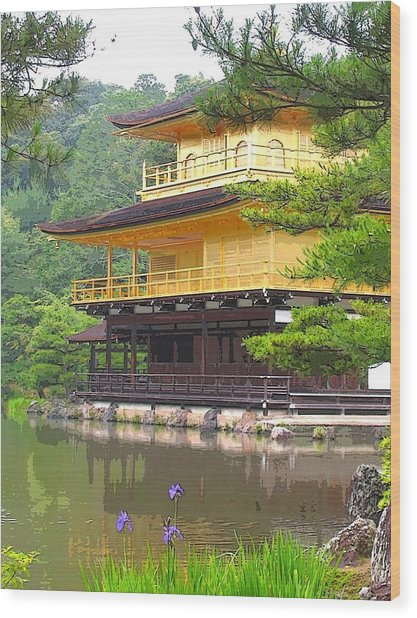 Japanese Temple Wood Print by Nian Chen
