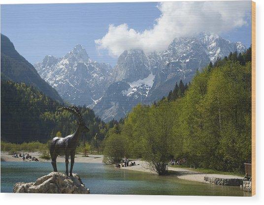 Jasna Lake In Julian Alps With Statue Of Mythical Chamois Zlatorog Wood Print by John Elk III