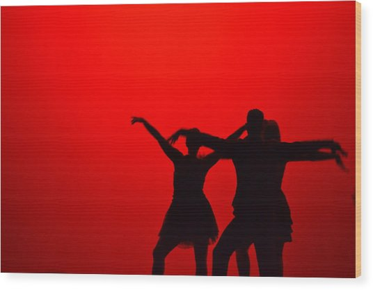 Jazz Dance Silhouette Wood Print