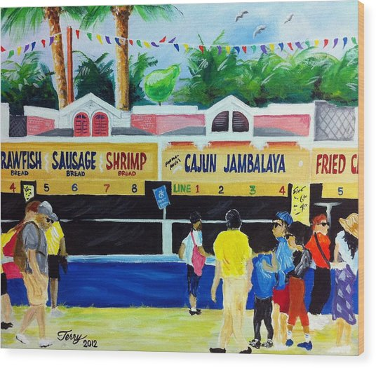 Jazz Fest Food Wood Print by Terry J Marks Sr
