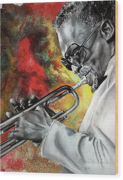 Jazz Fire Wood Print