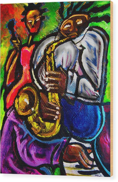 Jazz Groove Wood Print by Kevin McDowell