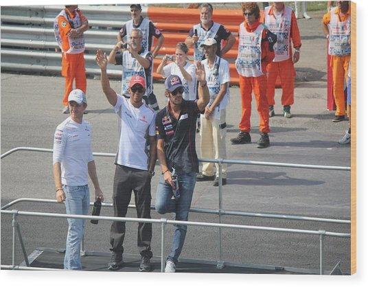 Jean-eric Vergne Lewis Hamilton And Nico Rosberg Wood Print by David Grant