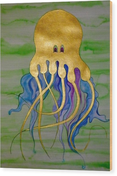 Jeremiah The Jellyfish Wood Print by Erika Swartzkopf