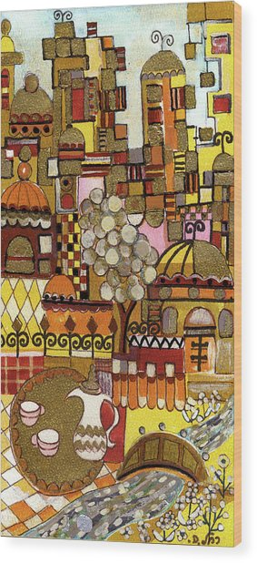 Jerusalem Alleys Tall 5  In Red Yellow Brown Orange Green And White Abstract Skyline Landscape   Wood Print