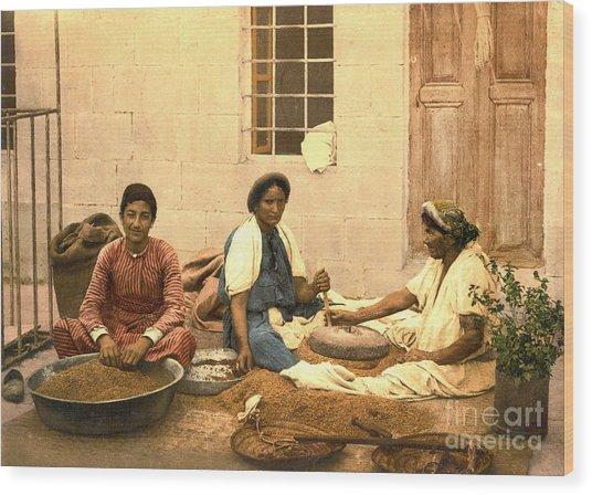 Jerusalem Women Grinding Corn 1895 Wood Print by Padre Art