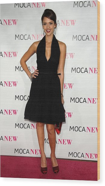 Jessica Alba Wearing A Prada Dress Wood Print