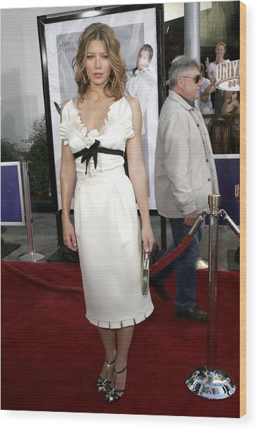 Jessica Biel At Arrivals For I Now Wood Print by Everett