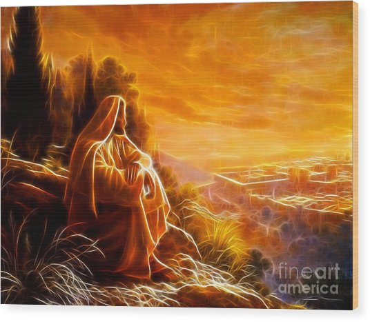 Jesus Thinking About People Wood Print