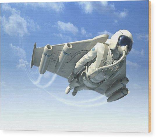 Jetman, Artwork Wood Print by Henning Dalhoff