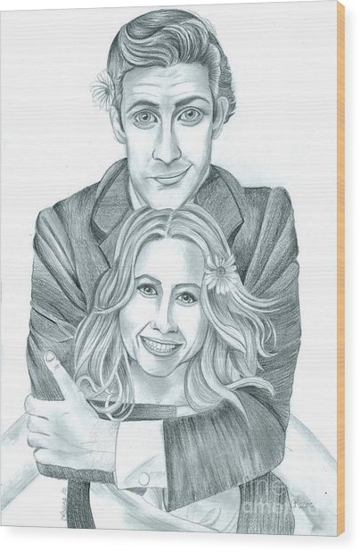 Jim And Pam Wood Print