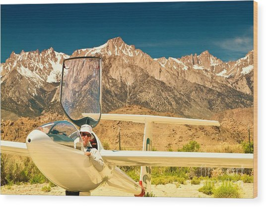Jim Archer And Kestrel Sailplane Lone Pine California Wood Print