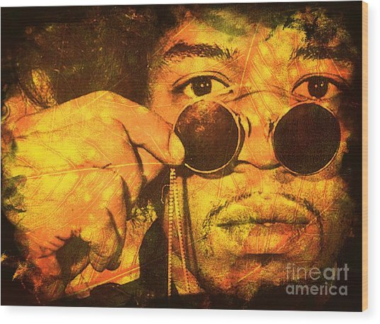 Jimi Wood Print by Ankeeta Bansal