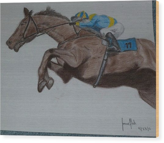 Jockey Wood Print by Jamie Mah